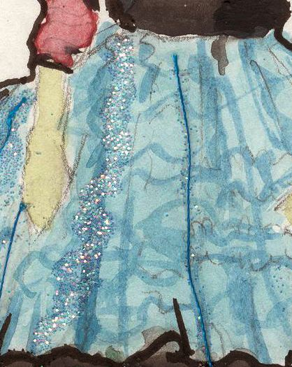 zoom in glitter detail on fashion illustration