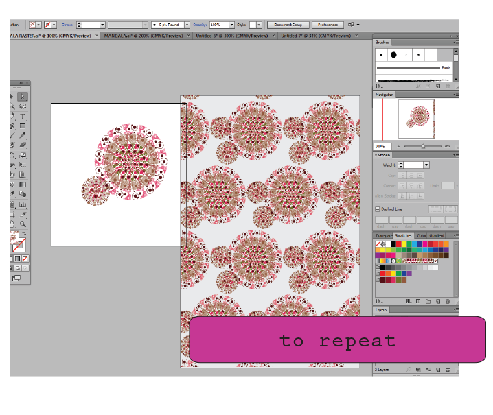 Create seamless pattern with Illustrator cs6 and mandalas