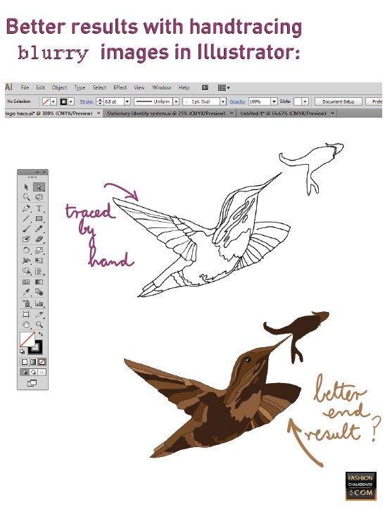 tracing an blurry image in illustrator with the pencil tool