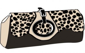 Animal print clutch with buckle and peekaboo clasp