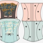 Flat sketch with fashion lace created in Illustrator multiple colorways