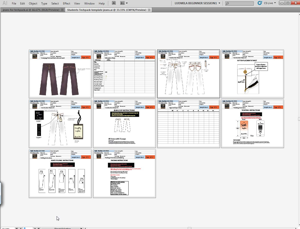 Fashion Techpacks In Illustrator CS For Shipping Production To Stores - Tech pack template