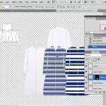 Scaling pattern inside jacket flat sketch in Photoshop