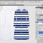 Fill jacket flat sketch in Photoshop with textile