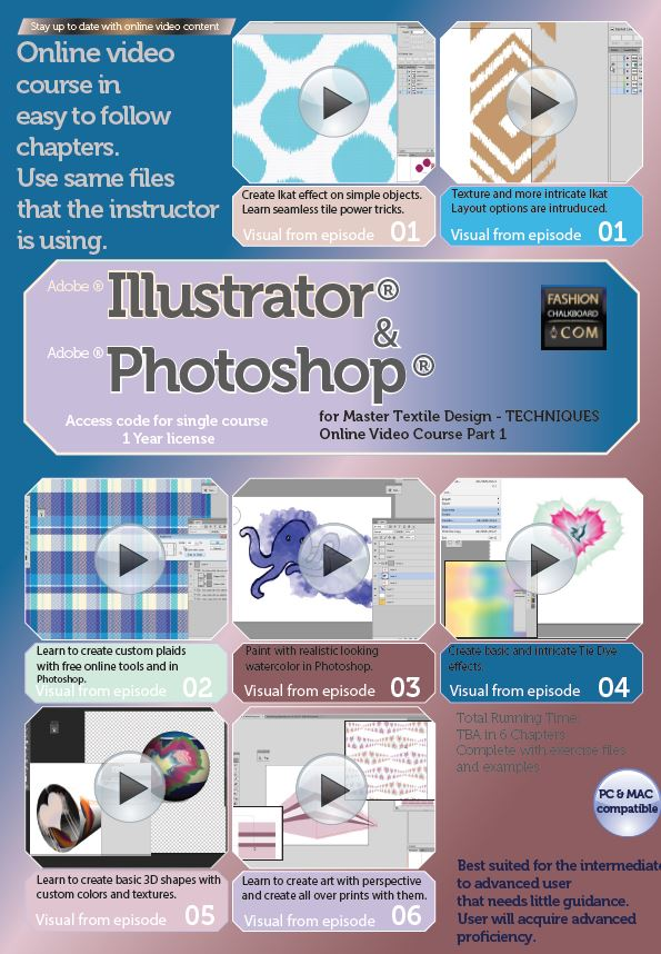 master textile design class in illustrator and photoshop part a