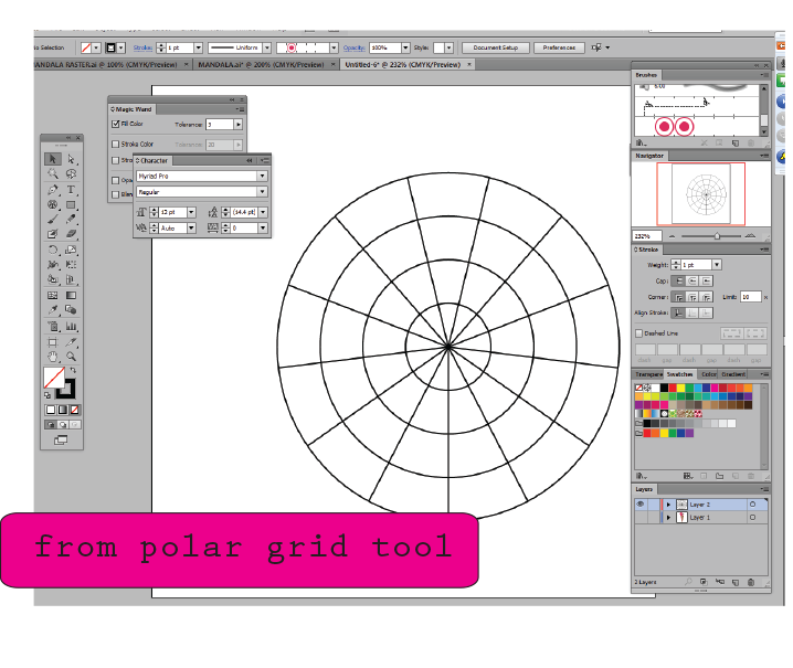 Create seamless pattern with Illustrator cs6 using polar grid tool
