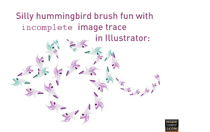 scattered brush and pattern brush with incomplete humming bird trace