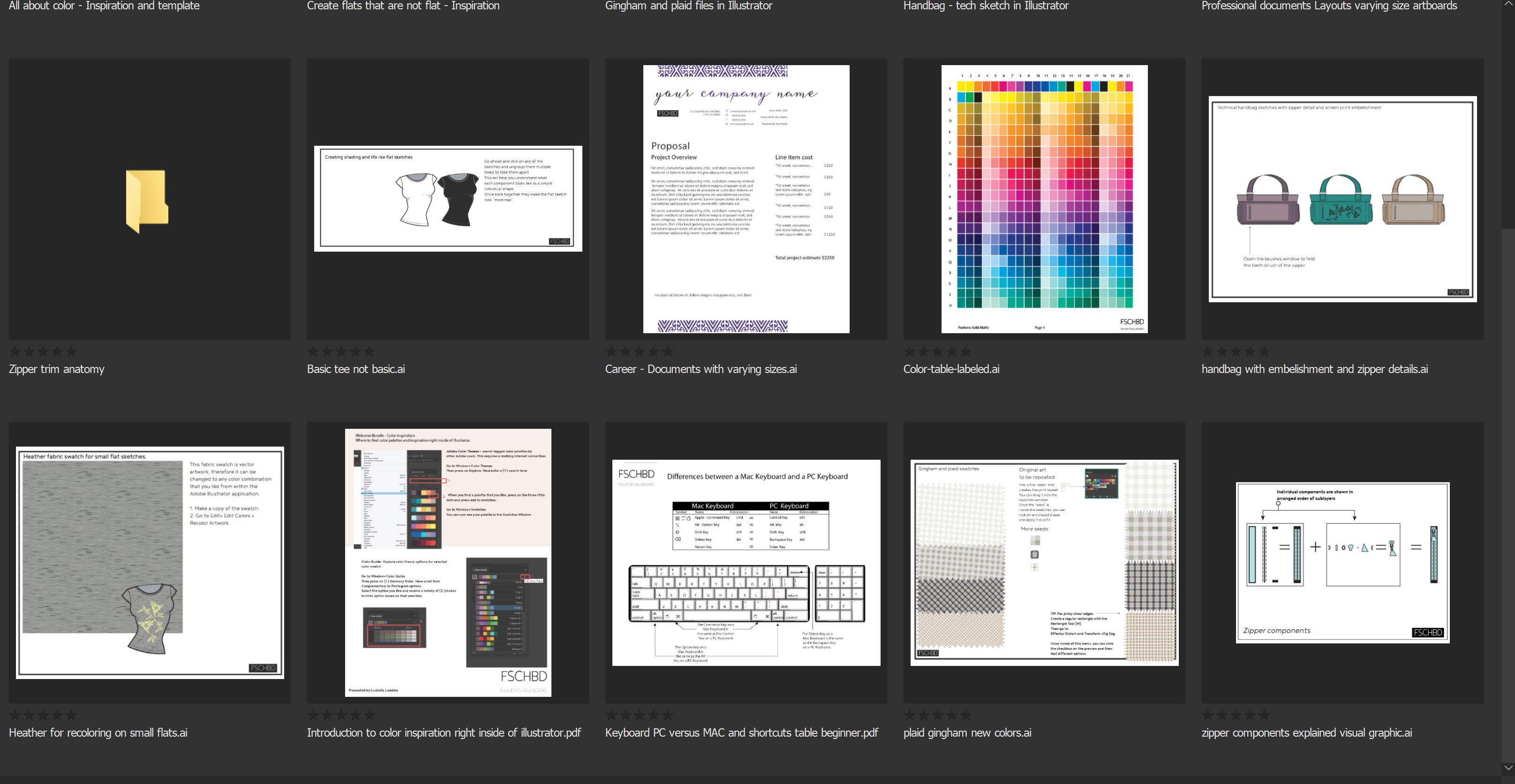 this image shows the illustrator flat sketches, color tables, illustrator shortcut list and other free textile design resources